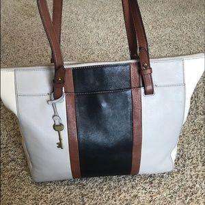 Fossil Leather Tote Shoulder Bag Purse